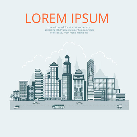 business buildings: Linear Flat monocolor Buildings, skyscrapers, business center, offices and houses, road and sky background vector illustration. Modern city, Urban life concept.