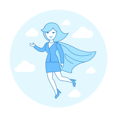 Linear Flat Businesswoman flying in suit and Super hero red cape vector illustration. Business leader concept.
