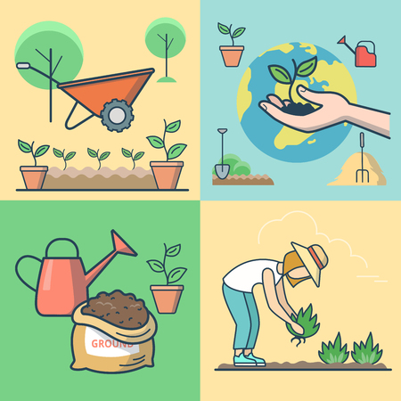 Linear Flat Female farmer planting, sprout in hand on globe background vector illustration set. Seedling and gardening concept. Earth bag, plant in the pot, cart, stack of hay, watering can icons. Illustration