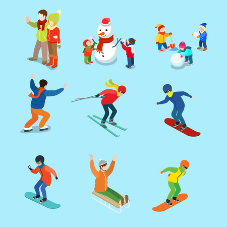 Flat adult and children on sled, skiing, snowboard, skates, having fun making snowman vector illustration set. Family Winter holidays, sports concept.