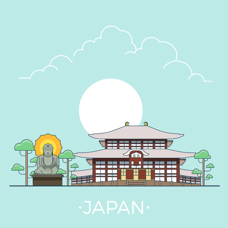 kamakura: Linear Flat famous historic sight; cartoon style web site vector illustration. World travel and showplace in Asia, Asian vacation collection. Illustration