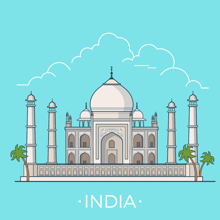 asia style: India country design template. Linear Flat famous historic sight; cartoon style web site vector illustration. World travel and showplace in Asia, Asian vacation collection.