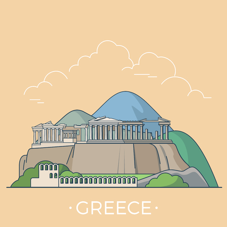 Greece country design template. Linear Flat famous historic sight; cartoon style web site vector illustration. World travel and showplace in Europe, European vacation collection.