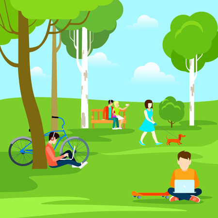 Flat Young people in park, male sitting on grass with laptop, girl walking with dog, couple making selfie vector illustration. Rest at Nature concept. Illustration