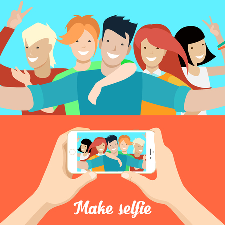 Flat Young people making selfie, male hands holding smartphone with opened photo vector illustration set. Social networks concept.