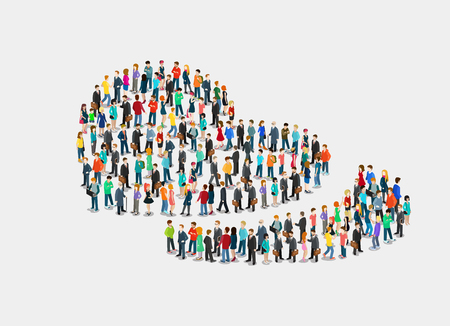 Flat isometric crowd of people forming romantic silhouette of two hearts and separated piece vector illustration. 3d isometry Love concept.