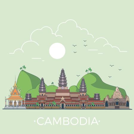 カンボジア国デザイン テンプレートです。直線フラットの有名な歴史的な光景。漫画スタイルの web サイトのベクター イラスト。世界旅行とアジア