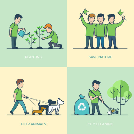greenpeace: Linear Flat young volunteers walking dog, watering plant, cleaning city vector illustration set. Greenpeace Volunteering concept. Illustration