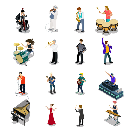 bard: Flat isometric Musicians and showmen vector icon set. 3d isometry Entertainment concept. Group of people playing instrument, scene concert. DJ, drummer, entertainer, emcee, saxophonist characters.