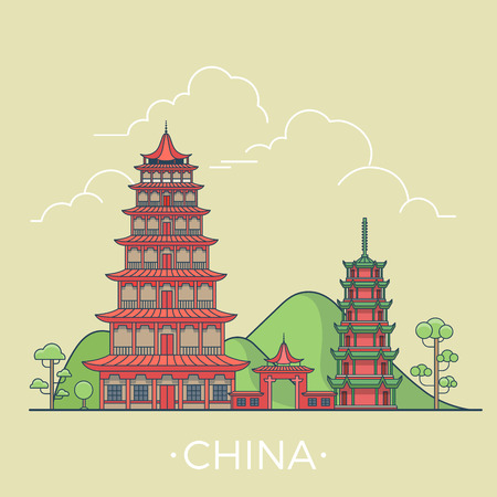 asia style: China country design template. Linear Flat famous historic sight; cartoon style web site vector illustration. World travel and showplace in Asia, Asian vacation collection.