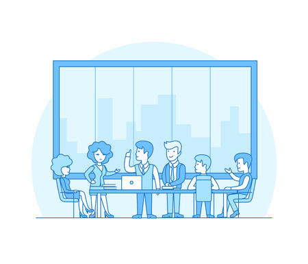 manager team: Linear Flat Business people brainstorming in meeting room vector illustration. Businessman, secretary, manager, client characters. Team work concept.