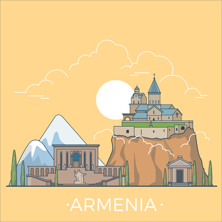 asia style: Armenia country design template. Linear Flat famous historic sight; cartoon style web site vector illustration. World travel and showplace in Asia, Asian vacation collection.