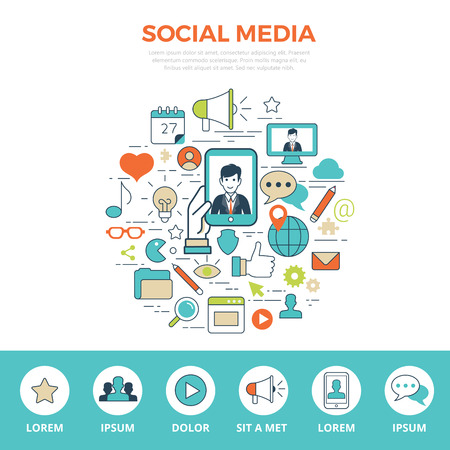 Linear flat SOCIAL MEDIA infographics template and icons website hero image vector illustration. Global social network and communication concept. Illustration