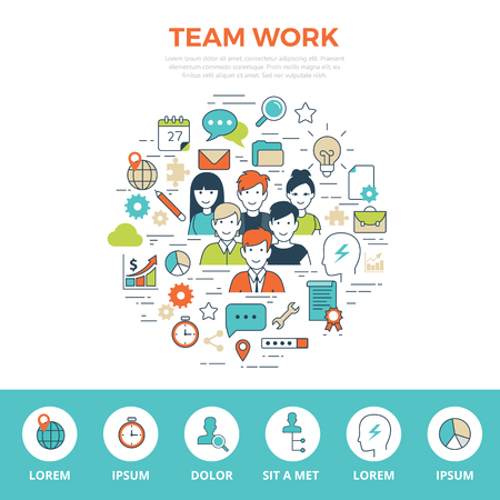 Linear flat TEAMWORK infographics template and icons website hero image vector illustration. Business team concept. Иллюстрация