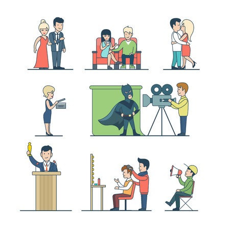 Linear Flat Film production icons vector illustration. Entertainment concept. Lovers, superhero, producer, operator, sound engineer, Academy Award winner, stylist characters.