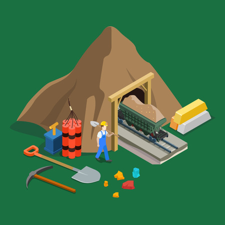 Flat isometric trolly laden with rock formation and precious metal, miner character, explosive, scrap and bar on the ground vector illustration. 3d isometry Gold mining industry concept.