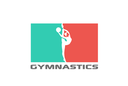 Gymnast silhouette Logo design vector template.  Sport Gymnastics Logotype icon Negative space style