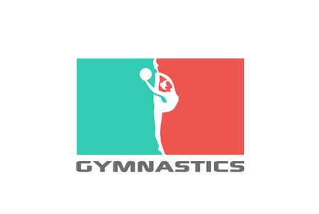 Turnerschattenbild Logo Design Vektor Vorlage. Sport Gymnastics Logotype icon Negativer Raumstil Standard-Bild - 72679421