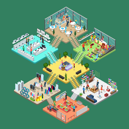 grocery shelves: Flat isometric Shopping mall interior vector illustration. Cell infographics template. 3d isometry leisure and purchases concept. Shelves, goods, personal, consultant and customers characters.