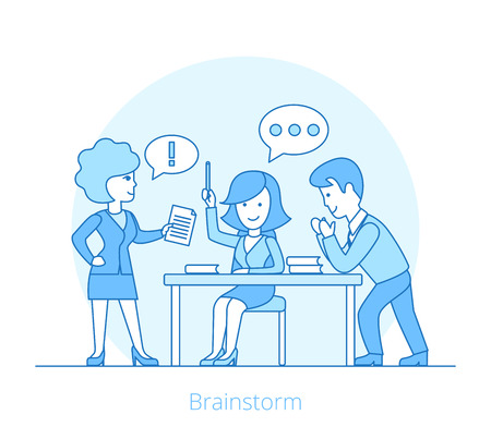 Linear Flat Businesspeople lively discussion around the table vector illustration. Brainstorm concept.