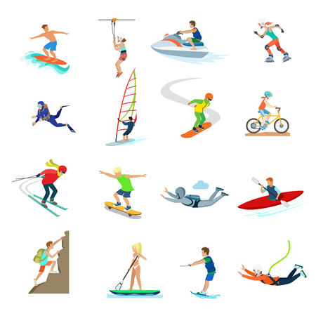 sports activity: Flat active young people sailing, swimming, diving, riding bike, roller-skates, climbing rock, jumping with parachute vector illustration set. Extreme sports and activity concept.