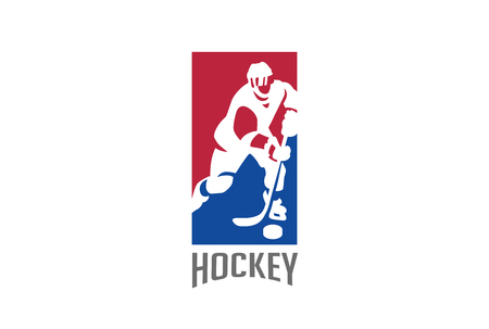 Ice Hockey player silhouette Logo design vector template.  Sport icon Negative space style