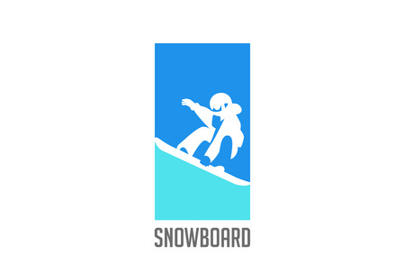Snowboarder jumping silhouette Logo design vector template.  Snowboard Sport Logotype icon Negative space style