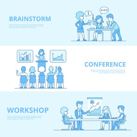 Linear Flat Business team around table, Presentation, Working process vector illustration set. Brainstorm, Workshop, Conference concepts.