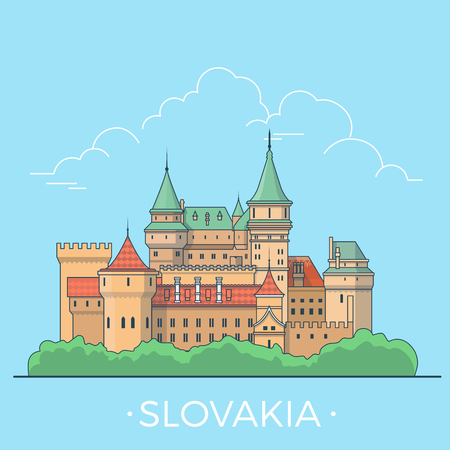 Slovakia country design template. Linear Flat famous historic sight; cartoon style web site vector illustration. World travel and showplace in Europe, European vacation collection.