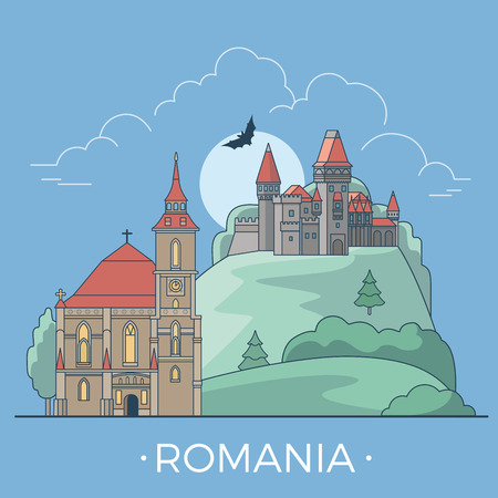 Romania country design template. Linear Flat famous historic sight; cartoon style web site vector illustration. World travel and showplace in Europe, European vacation collection.