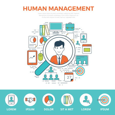 Linear flat HUMAN MANAGEMENT infographics template and icons website hero image vector illustration. Business Leadership concept.