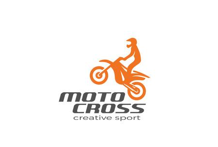 モトクロス バイクのシルエットのロゴのデザインはテンプレートをベクトルです。  モト スポーツ レース ロゴ アイコン