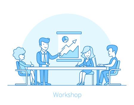 Linear Flat Businesspeople working around the table vector illustration. Workshop concept. Ilustração