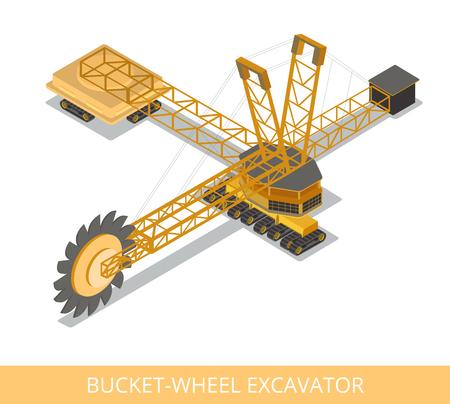 フラット等尺性バケット ホイール掘削機。  イラスト・ベクター素材