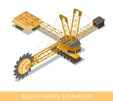 quarry: Flat isometric bucket-wheel excavator. Illustration