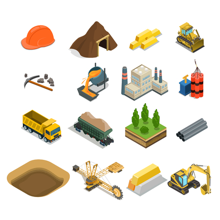 Flat isometric gold coal and minerals extraction icons vector illustration set. 3d isometry Mining, Raw materials industry concept.