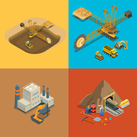 Flat isometric metallurgical plant, gold coal and open development, minerals extraction and delivery transport vector illustration set. 3d isometry Mining, Raw materials industry concept. Иллюстрация