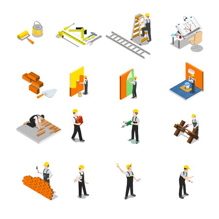 Flat isometric Construction professional icons.