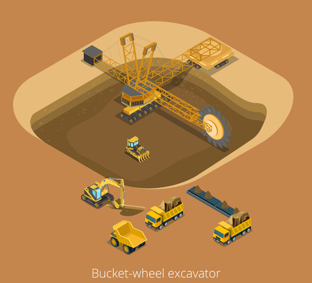 Flat isometric open development with bucket-wheel excavator inside and special machinery working illustration.