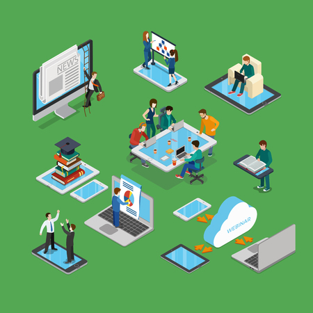 monitor screen: Flat isometric businesspeople brainstorming on tablet screen, working on laptop, meeting on smartphone, climbing monitor vector illustration set. 3d isometry business technologies concept. Illustration