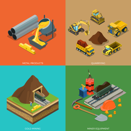 Flat isometric metallurgical plant, minerals extraction and delivery transport vector illustration set. 3d isometry Metal Products, Quarrying, Miner equipment, Gold Mining concept.