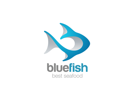 Fish Logo 3D abstract design vector template. Seafood restaurant menu, store, shop Logotype.