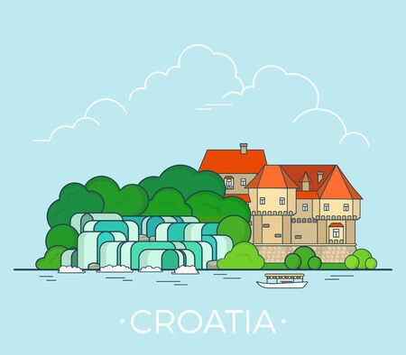 Croatia country design template. Linear Flat famous historic sight; cartoon style web site vector illustration. World travel and showplace in Europe, European vacation collection.