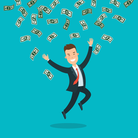 Flat young smiley businessman jumping under rain of money banknotes vector illustration. Business success concept.