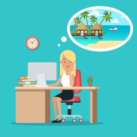 フラット若い実業家のテーブルに座って、モルディブのベクトル図に休暇を夢見てします。ビジネス過労のコンセプトです。 写真素材