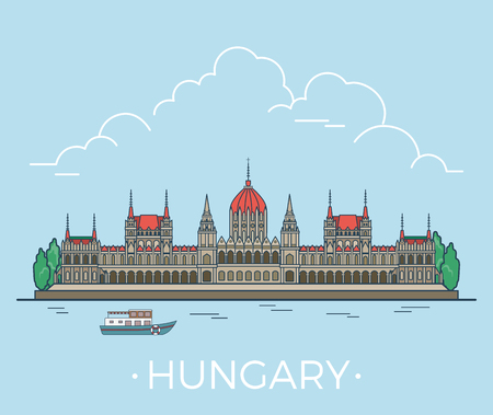 Hungary country design template. Linear Flat famous historic sight; cartoon style web site vector illustration. World travel and showplace in Europe, European vacation collection.
