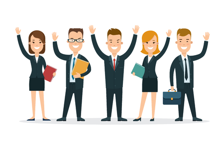 happy business man: Flat Team of happy young man and woman vector illustration. Successful Business Teamwork concept.