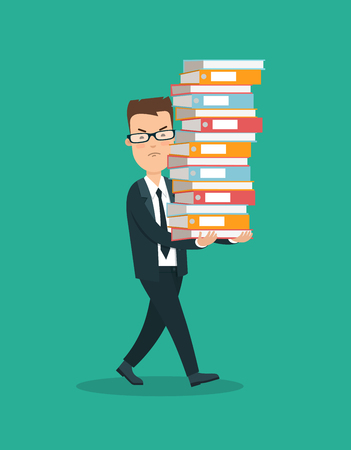 Flat young unhappy businessman carrying folders vector illustration. Business Workload concept. Stock Photo