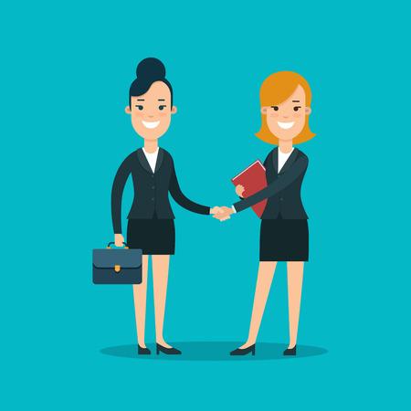 Twee Onderneemsters die de vectorillustratie van de handen vlakke stijl schudden. Het concept van het de Overeenkomstcontract van de bedrijfsvrouwen glimlachende karakters.