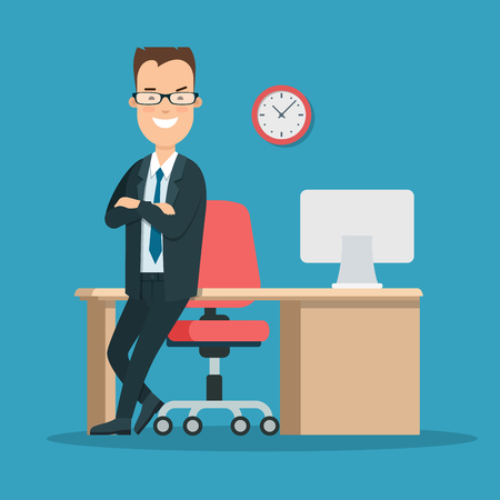relay: Flat young smiley businessman standing near working place vector illustration. Casual Business life concept.